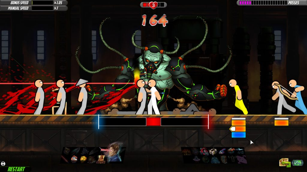 the player character kills multiple enemies in a line using laser eyes