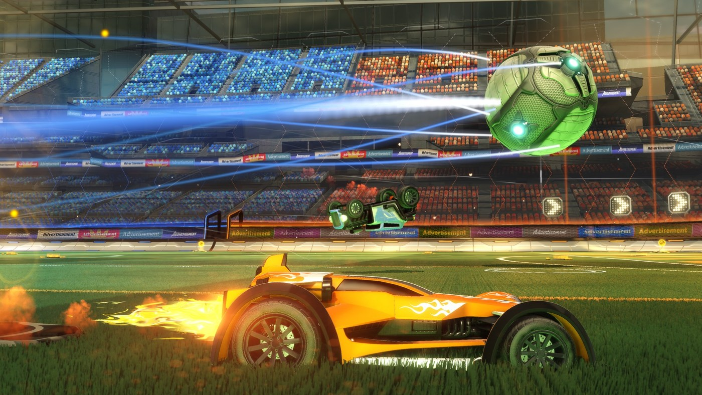 Rocket League is a game where you get to play soccer with rocket powered cars.