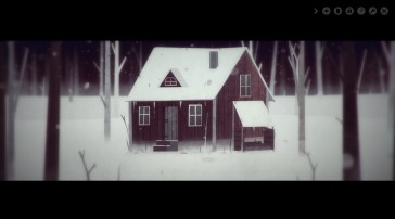Year Walk screenshot - Cabin in the woods. Taken from http://simogo.com/work/year-walk-pc/