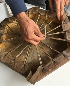 Adam X Hearn making shamanic drum