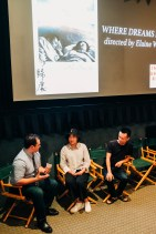 "Production designer Yuelin Zhao and lead actor Zhan Wang of ""Where Dreams Rest"" during the Q&A with ISF-LA host Max Zabell"