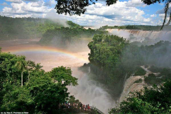 rainbow over iguacu falls brazil
