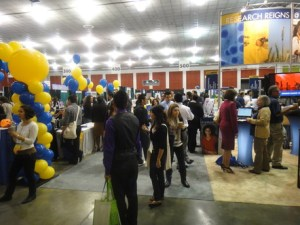 SACNAS 2011 exhibitor hall. UC Berkeley & UC Davis recruitment and display tables