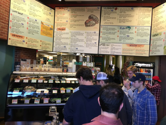 The menu board at Zingerman's. We were in line for about 35 minutes to get to this point.