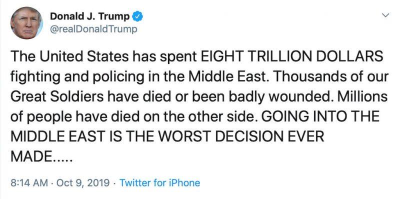 Trump geeft toe dat de VS tientallen miljoenen vermoord heeft in de oorlog op basis van leugens