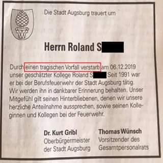 Rouwadvertentie stad Augsburg voor Brandweerman noemt de migranten niet