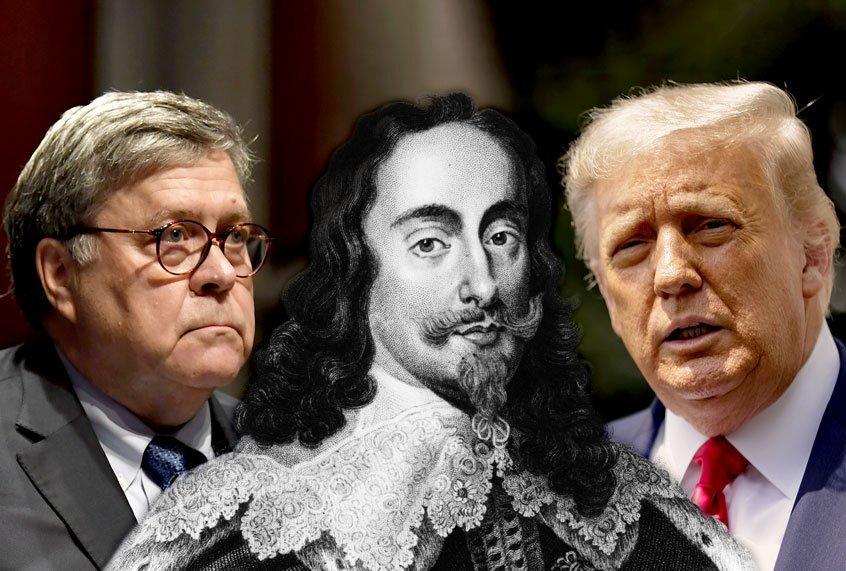 """Bill Barr en Donald Trump proberen de """"Ancient Constitution"""" die koningen regeerde in brand te steken"""