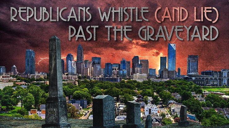 Republikeinen fluiten (en liegen) langs het kerkhof