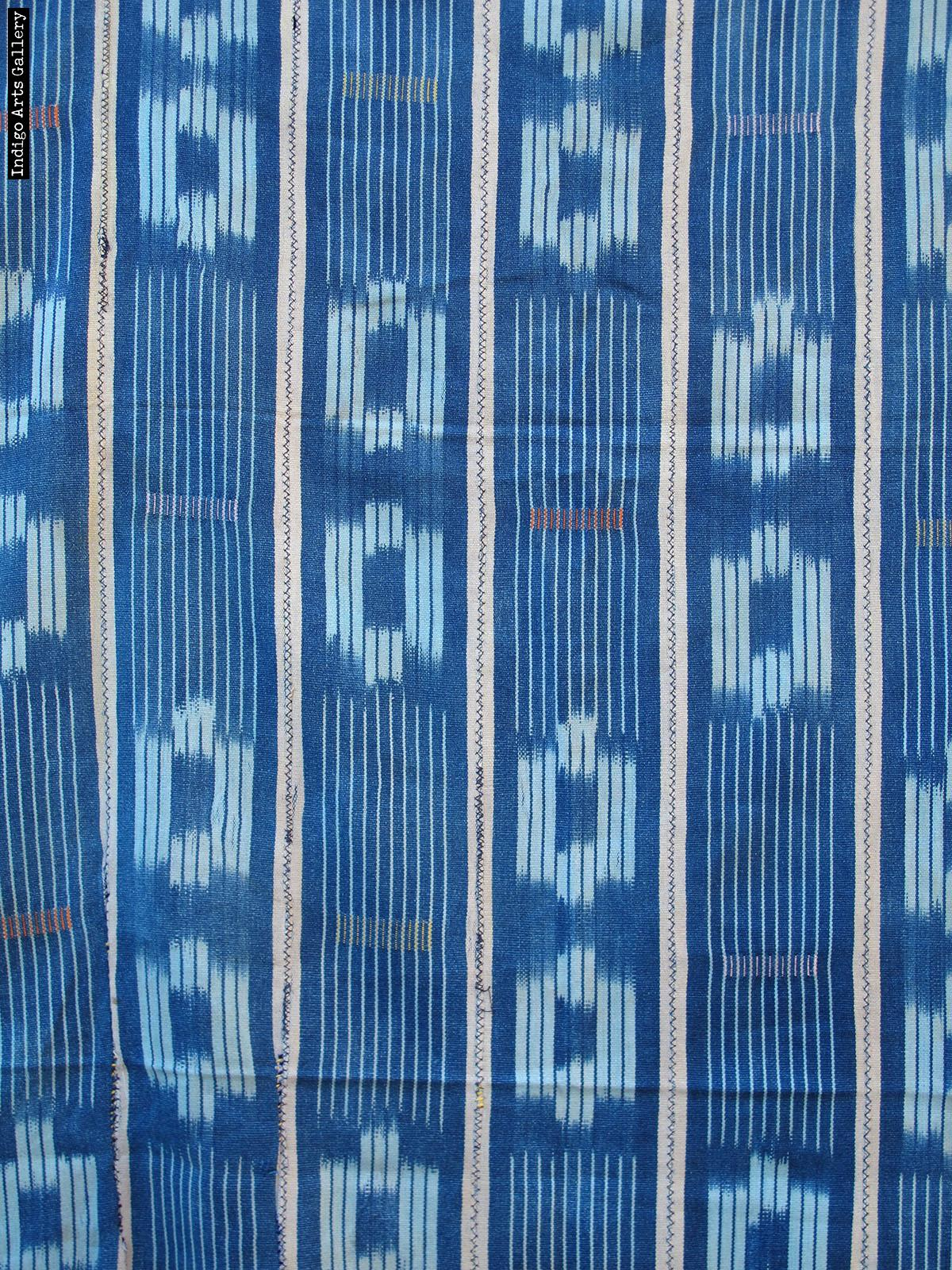 Baule Indigo Ikat Strip-weave Cotton Fabric Arts