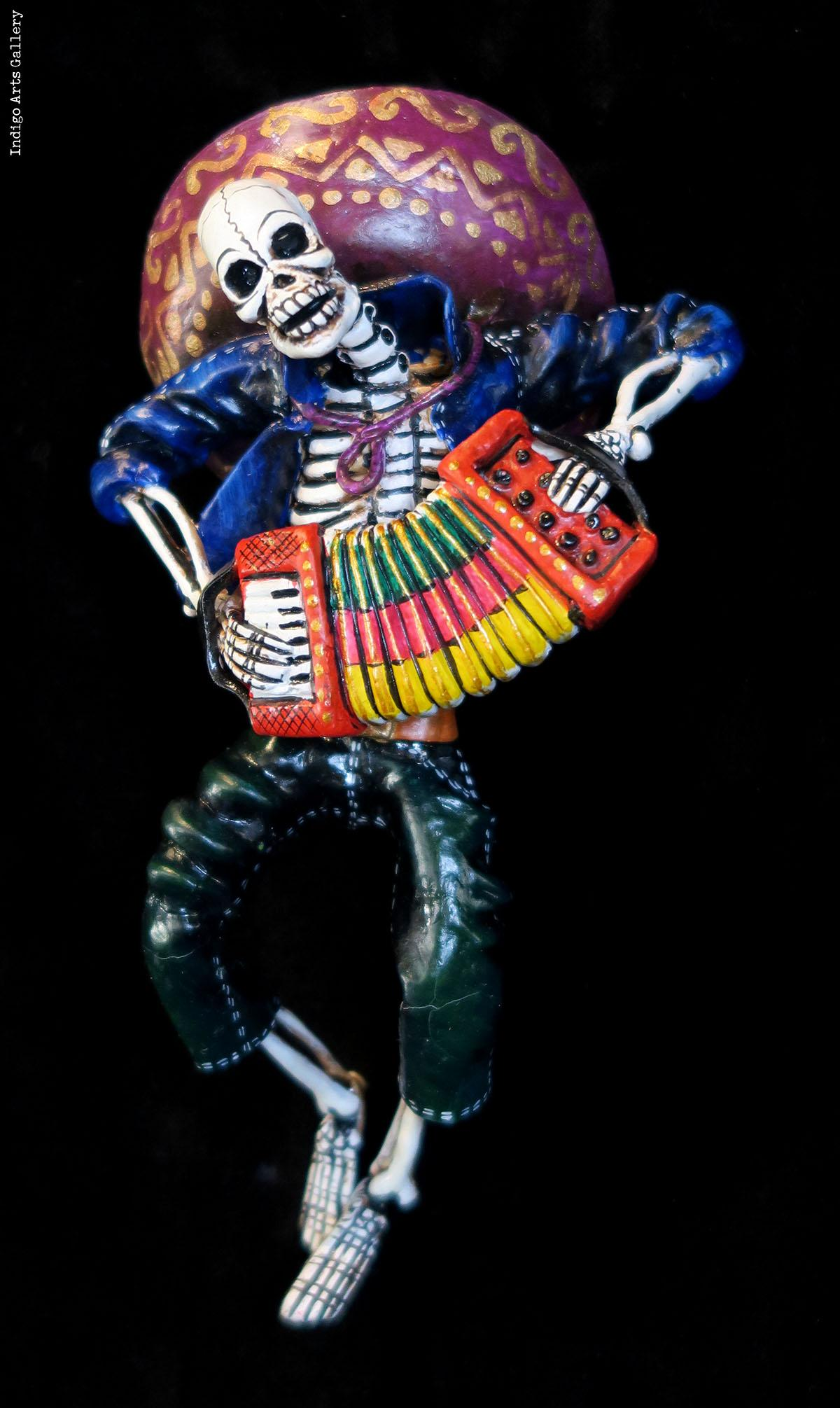 Accordion-player Of Dead - Retablo Figure Indigo Arts