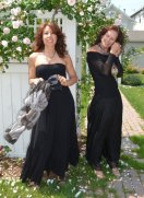 Left: Petit Pois dress; silk scarf Right: Petit Pois top; black silk chiffon pants by Luna Luz