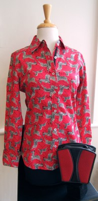 Dizzy Lizzie red zebra shirt, Roche red leather purse