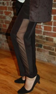 Morrissey black pants with sheer panel