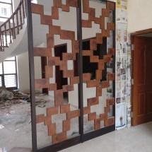wooden partition, contemporary design, modern interior design