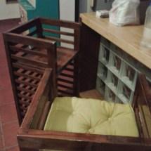 breakfast counter, glass bricks, lighting, rubberwood design, teak wood barstools