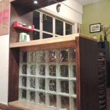 breakfast counter, glass bricks, lighting, rubberwood design