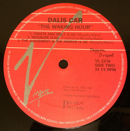 "Dalis Car The Waking Hour CA 12"" 1988 B Label"