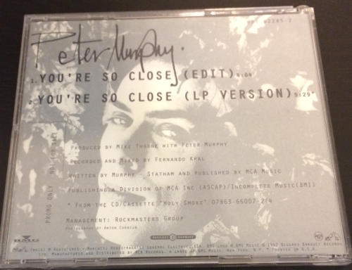 Peter Murphy You're So Close US CD Promo 1992 Back Cover