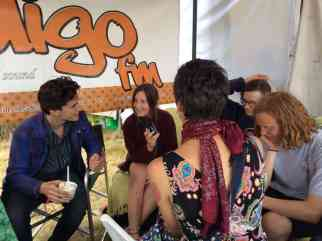One of younger presenters Leah (middle) chats with members from young Bellarine garage rockers Tiny Giants at FRL 2014 as one of their mum's Sarah Carroll watches on