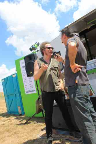 Max from hard rockers Mutton chats with Scott after their gig at BMF 2016