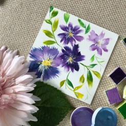 Oh purple flowers, how I love thee. The density of the watercolors are striking.