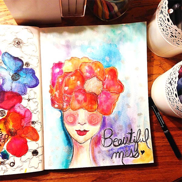 She is a Beautiful Mess WAtercolor painting in the art journal