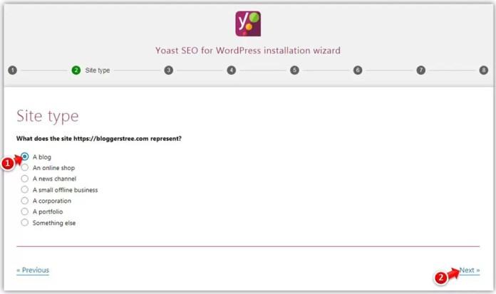 Choose Site Type in Yoast SEO Plugin