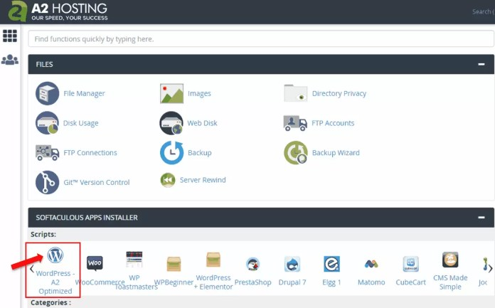 A2Hosting cPanel interface