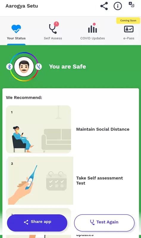 Aarogya Setu Android Mobile App Main Dashboard