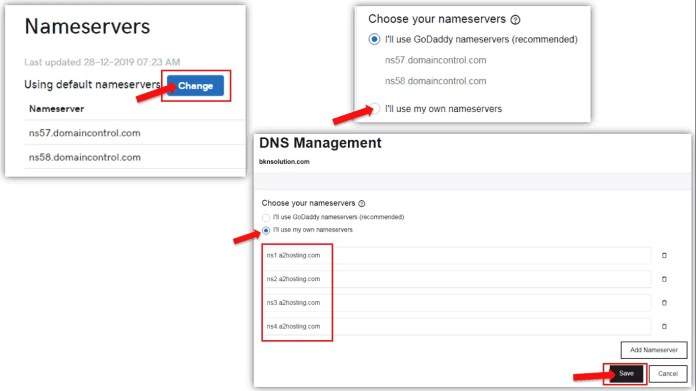 Nameservers Changing process in GoDaddy account