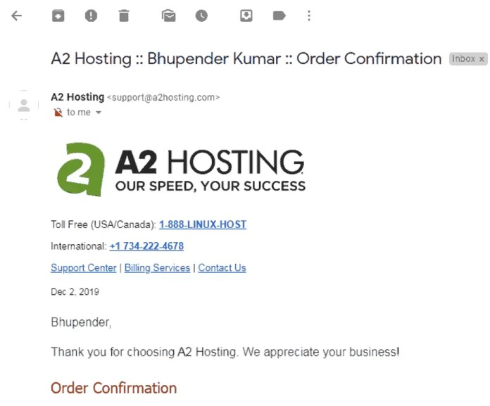 Order Confirmation mail from A2Hosting