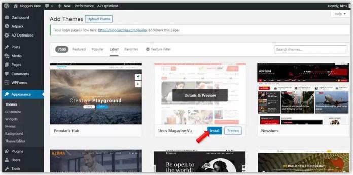 install new theme in WordPress-1