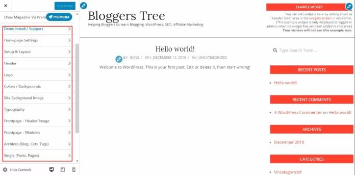 theme Customization interface in WordPress
