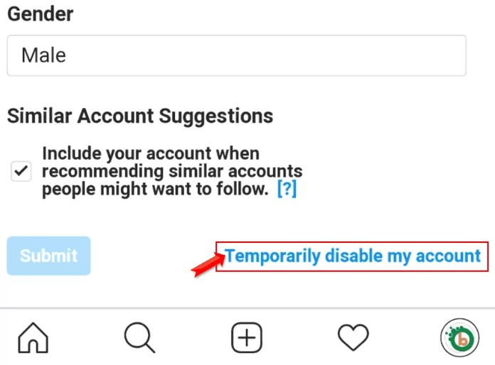 How do i Temporarily disable my instagram account in Hindi?