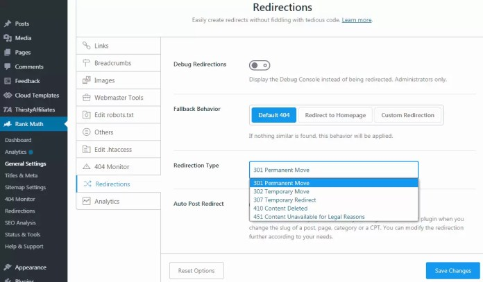 Redirection Settings in Rank Math SEO WordPress Plugin