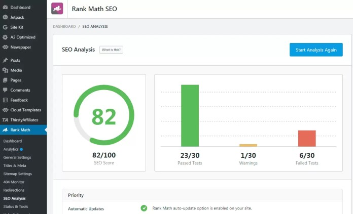 SEO Analysis in Rank Math SEO WordPress Plugin