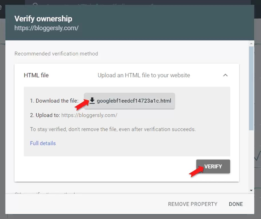 Verify Site Ownership in Google Search Console