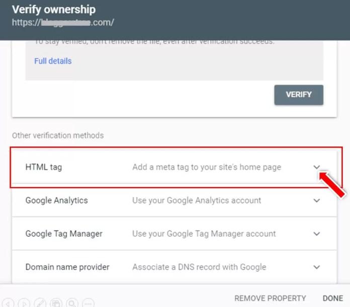 Copy HTML Tag to Verify Site in Google Search Console