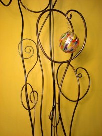 custom misty ornament tree detail of multiple built in hooks for glass orb collection - 2' Wx 7' H