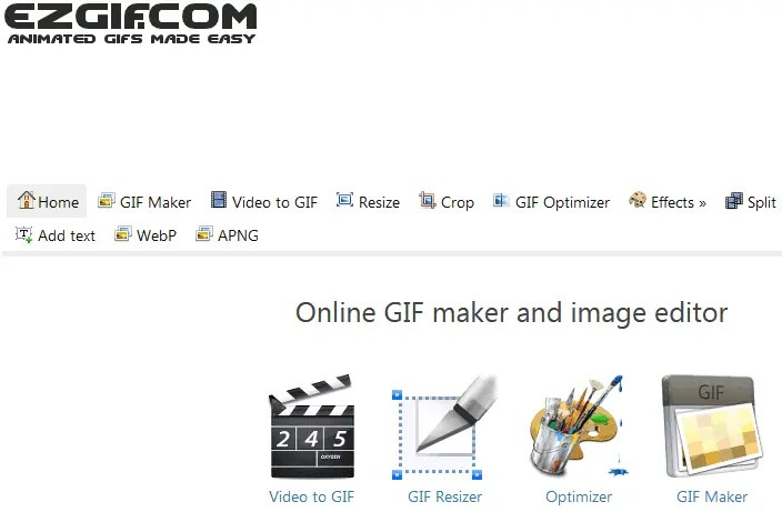 Ezgif.com front webpage with list of available tools to reduce GIF size