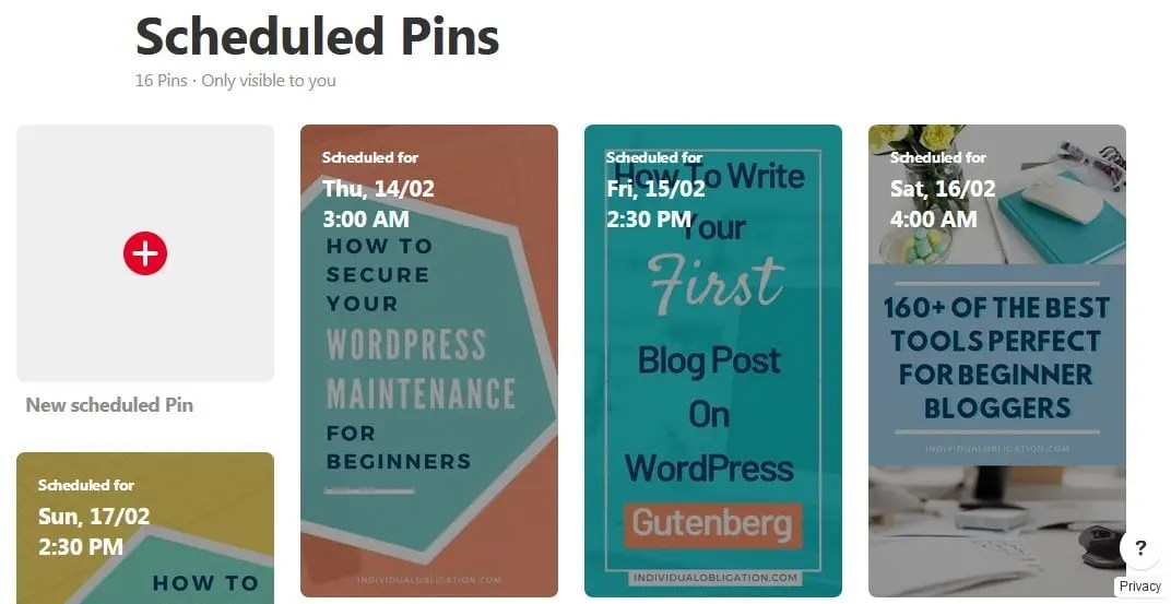Free Pinterest Scheduler With List Of Scheduled Pins Scheduled Previously For Reviewing