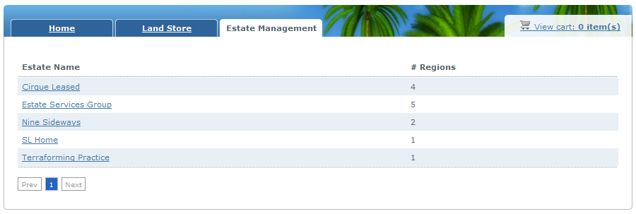 Estate Management Page