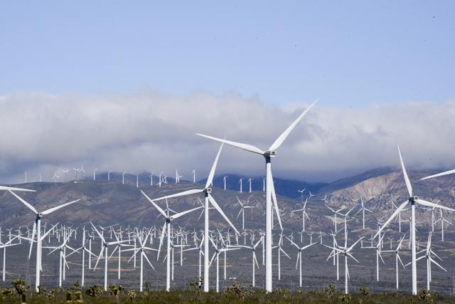 Air flow through wind turbines