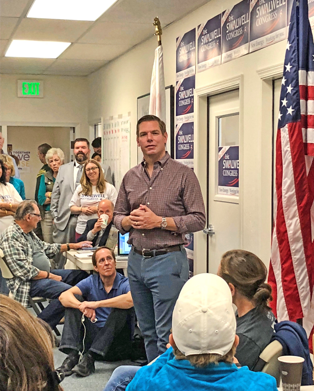 Rep Swalwell at Red-to-blue HQ, photo by Ward Kanowsky