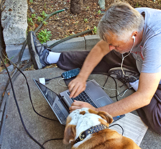 George phone banking to AZ, with an assist from Henry the Indivisi-bulldog