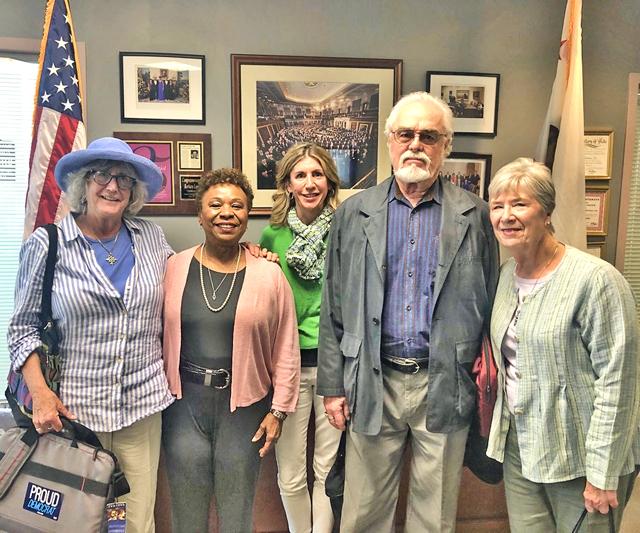 Katie Cameron, Representative Barbara Lee, Lynn LaRocca, Ken Cameron, and Leslie Walsh. Photo by Jain Thapa, staff to Rep Lee