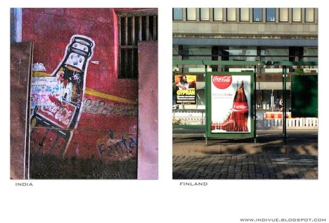 Coca-Cola-mainos Suomessa ja Intiassa