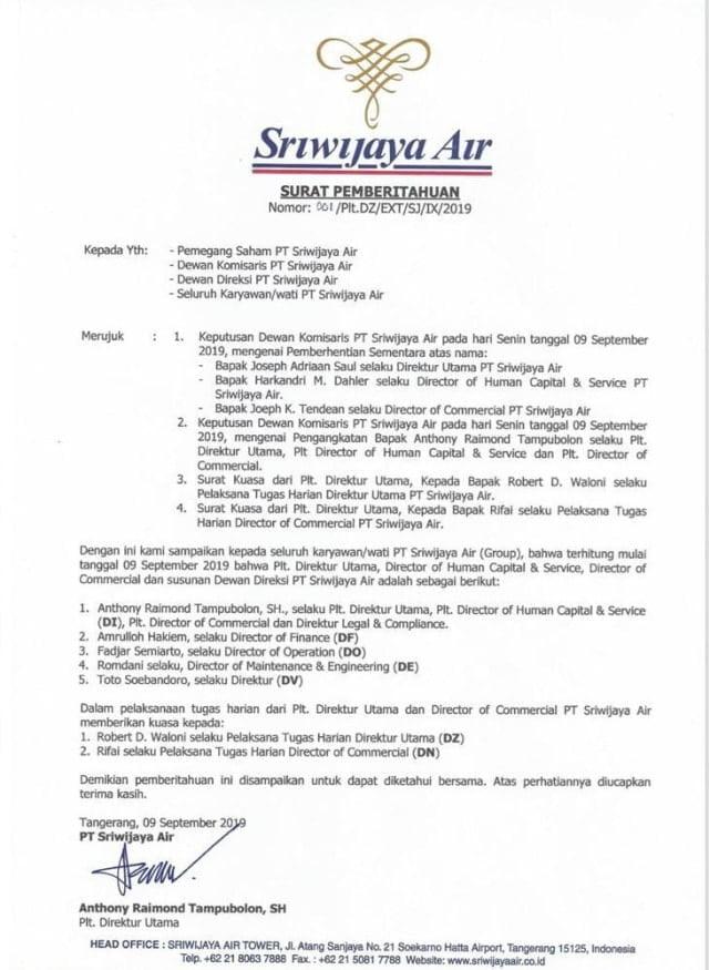 Surat pemberitahuan pemberhentian Direktur Utama PT Sriwijaya Air.