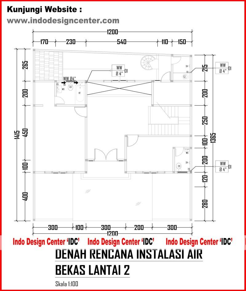 026.Denah Rencana Instalasi Air Bekas Lantai 2