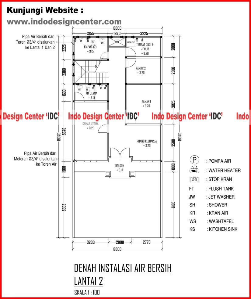 015.Denah Instalasi Air Bersih Lantai 2